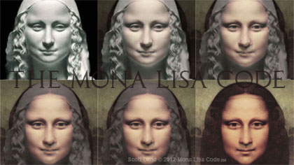 Mona Lisa faces morphing from a statue into a painting.